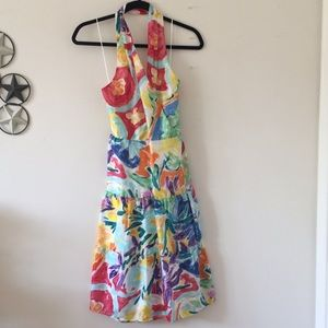 Ralph Lauren Silk Colorful Halter Dress